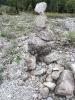Die ersten Steingebilde nach dem Erdrutsch
